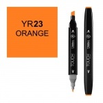 ShinHan Art TOUCH Twin Orange Marker: Black, Orange, Double-Ended, Alcohol-Based, Refillable, Dual