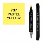 ShinHan Art TOUCH Twin Pastel Yellow Marker: Black, Yellow, Double-Ended, Alcohol-Based, Refillable, Dual, (model 1110037-Y37), price per each