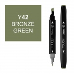ShinHan Art TOUCH Twin Bronze Green Marker: Black, Green, Double-Ended, Alcohol-Based, Refillable, Dual, (model 1110042-Y42), price per each