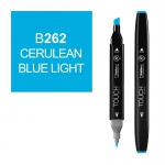 ShinHan Art TOUCH Twin Cerulean Blue Light Marker: Black, Blue, Double-Ended, Alcohol-Based, Refillable, Dual, (model 1110262-B262), price per each