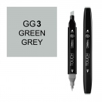 ShinHan Art TOUCH Twin Green Grey 3 Marker: Black, Black/Gray, Double-Ended, Alcohol-Based, Refillable, Dual, (model 1113030-GG3), price per each