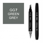 ShinHan Art TOUCH Twin Green Grey 7 Marker: Black, Black/Gray, Double-Ended, Alcohol-Based, Refillable, Dual, (model 1113070-GG7), price per each