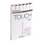 ShinHan Art TOUCH Twin Brush Wood Colors 6-Piece Marker Set: White, Brown, Double-Ended, Alcohol-Based, Refillable, Dual, (model 1200610), price per set