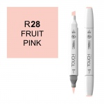 ShinHan Art TOUCH Twin Brush Fruit Pink Marker: White, Red/Pink, Double-Ended, Alcohol-Based, Refillable, Dual, (model 1210028-R28), price per each