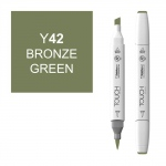 ShinHan Art TOUCH Twin Brush Bronze Green Marker: White, Green, Double-Ended, Alcohol-Based, Refillable, Dual, (model 1210042-Y42), price per each