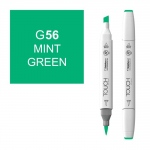 ShinHan Art TOUCH Twin Brush Mint Green Marker: White, Green, Double-Ended, Alcohol-Based, Refillable, Dual, (model 1210056-G56), price per each