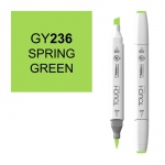 ShinHan Art TOUCH Twin Brush Spring Green Marker: White, Green, Double-Ended, Alcohol-Based, Refillable, Dual, (model 1210236-GY236), price per each