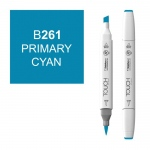 ShinHan Art TOUCH Twin Brush Primary Cyan Marker: White, Blue, Double-Ended, Alcohol-Based, Refillable, Dual, (model 1210261-B261), price per each