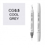 ShinHan Art TOUCH Twin Brush Cool Grey .5 Marker: White, Black/Gray, Double-Ended, Alcohol-Based, Refillable, Dual, (model 1212005-CG05), price per each