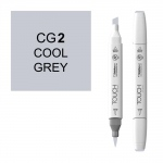 ShinHan Art TOUCH Twin Brush Cool Grey 2 Marker: White, Black/Gray, Double-Ended, Alcohol-Based, Refillable, Dual, (model 1212020-CG2), price per each