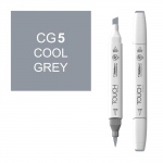 ShinHan Art TOUCH Twin Brush Cool Grey 5 Marker: White, Black/Gray, Double-Ended, Alcohol-Based, Refillable, Dual, (model 1212050-CG5), price per each