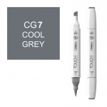 ShinHan Art TOUCH Twin Brush Cool Grey 7 Marker: White, Black/Gray, Double-Ended, Alcohol-Based, Refillable, Dual, (model 1212070-CG7), price per each