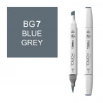 ShinHan Art TOUCH Twin Brush Blue Grey 7 Marker: White, Black/Gray, Double-Ended, Alcohol-Based, Refillable, Dual, (model 1214070-BG7), price per each