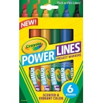 Crayola® PowerLines™ Scented Project Marker 6-Color Set: Chisel Nib, Washable, (model 58-8195), price per set