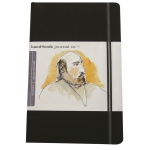 "Hand Book Journal Co.™ Travelogue Series Artist Journal 5.5"" x 3.5"" Pocket Portrait Ivory Black: Black/Gray, 128 Sheets, 3 1/2"" x 5 1/2"", Heavyweight, (model 721211), price per each"