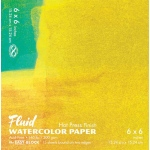 "Hand Book Journal Co.™ Fluid™ Easy-Block™ Hot Press Watercolor Paper 6"" x 6"": 15 Sheets, 6"" x 6"", Hot Press, 140 lb, (model 850066), price per 15 Sheets pad"