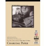 "Bee Paper® Charcoal Paper Pad 9"" x 12"": Tape Bound, White/Ivory, Pad, 25 Sheets, 9"" x 12"", Charcoal, 60 lb, (model B1021T25-912), price per 25 Sheets pad"
