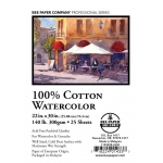 "Bee Paper® 100% Cotton Watercolor Sheets 22"" x 30"" 140lb 25pk: Sheet, 25 Sheets, 22"" x 30"", Watercolor, 140 lb, (model B1153P25-2230), price per 25 Sheets"