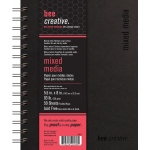 "Bee Paper® Bee Creative Mixed Media Book 5.5"" x 8"": Wire Bound, White/Ivory, Pad, 50 Sheets, 5.5"" x 8"", Mixed Media, 93 lb"