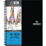 "Canson® Artist Series 9"" x 12"" Mixed Media Pad (Side Wire): Wire Bound, White/Ivory, Pad, 9"" x 12"", Fine, Medium, Mixed Media, 138 lb, (model C400059774), price per each"