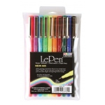 Marvy® Uchida LePen® Fineline Markers Neon Mix: Assorted, Dye-Based, 10-Pack, Fine Nib, (model MR4300-10F), price per set
