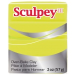 Sculpey® III Polymer Clay Acid Yellow: Yellow, Bar, Polymer, 2 oz, Oven Bake, (model S302534), price per each