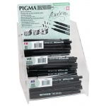 Pigma® Brush Pen Display: Black/Gray, Black/Gray, Black/Gray, Brush Pen, (model S50029D), price per each