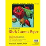 "Strathmore® 300 Series 9"" x 12"" Glue Bound Black Canvas Paper Pad: Black/Gray, Pad, 10 Sheets, 9"" x 12"", Canvas, 115 lb"