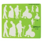 "Alvin® Human Figure Template - Geriatric: Green, 8 1/4"" x 5 3/4"" x .030"", General Purpose, (model TD55), price per each"