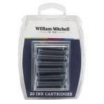 William Mitchell Universal Black Ink Calligraphy Cartridges: Black/Gray, 20-Pack, Refill, (model WM30103), price per set