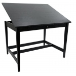"Alvin® Vanguard™ Drawing Room Table 36"" x 48"" Black Ash: 0 - 25, Brown, Rubber Wood, 17""l x 27""w x 1 1/2""h, 33 1/3"", Black/Gray, Rubber Wood, 36"" x 48"", (model VAN48-BA), price per each"