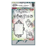 Ranger - Dina Wakley Media - Stamp/Stencil Set - Scribbly Vintage Holiday