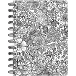 American Crafts - Hall Pass - Adult Coloring Spiral Bound Notebook 6inX8.25in - Floral