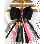 Prima - My Prima Planner - Bow Tassel with Clasp 2.75inX4- Glam Black with Pink & White