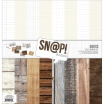 Simple Stories - Double Sided Paper Pack - 12x12 8 Pack Sn@p! Wood & Notebook Basics - 8 Des/1 Ea