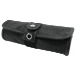 Global Art Materials™ Canvas Covered Pencil Roll Up Black: 36 Pencils, Black/Gray, Canvas
