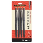 Pilot® Razor Point Fine Line Marker Pen Set: Black/Gray, 4-Pack, .3mm, Ultra Fine Nib, (model P11044), price per 4-Pack