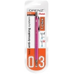 Pentel® Orenz™ 1-Click Mechanical Pencil Pink: Red/Pink, Black/Gray, .2mm, Mechanical, (model PP503PPABP), price per each