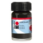 Marabu Porcelain Paint Black 15ml: Black/Gray, Jar, 15 ml, Porcelain, (model M11059039073), price per each