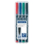 Staedtler® Lumocolor® Permanent Marker Set Medium: 4-Pack, 1.0mm, Medium Nib