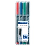 Staedtler® Lumocolor® Permanent Marker Set Fine : Assorted, 4-Pack, .6mm, Fine Nib