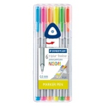 Staedtler® Triplus® Fineliner Pens 6-Color Neon Set: Assorted, 6-Pack, .3mm, Fine Nib, (model 334SB6NAS), price per set