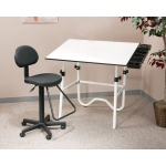 "Alvin® CC2001 Creative Center White Base with Drafting Chair: 0 - 45, White/Ivory, Steel, 29"" - 44"", White/Ivory, Melamine, 30"" x 42"", (model CC2001E3), price per each"