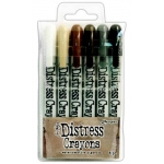 Ranger - Tim Holtz - Distress - Crayons Set #3 (Antique Linen/Vintage Photo/Walnut Stain/Hickory Smoke/Black Soot/Picket Fence)