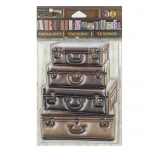 7Gypsies - Architextures - Treasures - Stacked Leather Suitcases