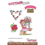CottageCutz - Chloe with Flowerpot, Wreath & Flowers Stamp & Die Set
