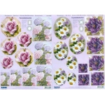 3D Precut - Purple and Pink Flowers - 2 sheets