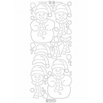 Deco Stickers - 3D Snowman: Transparent Glitter Silver