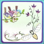 KC Embroidery Pattern - Corner Garden Bee Flourish