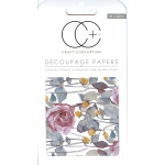 Dark Rose White Decoupage Papers
